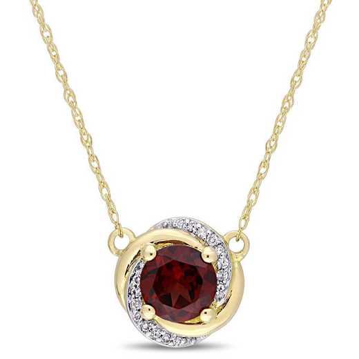 BAL000903: Garnet/Diamond Accent Swirl Necklace in 10k Yelow Gold