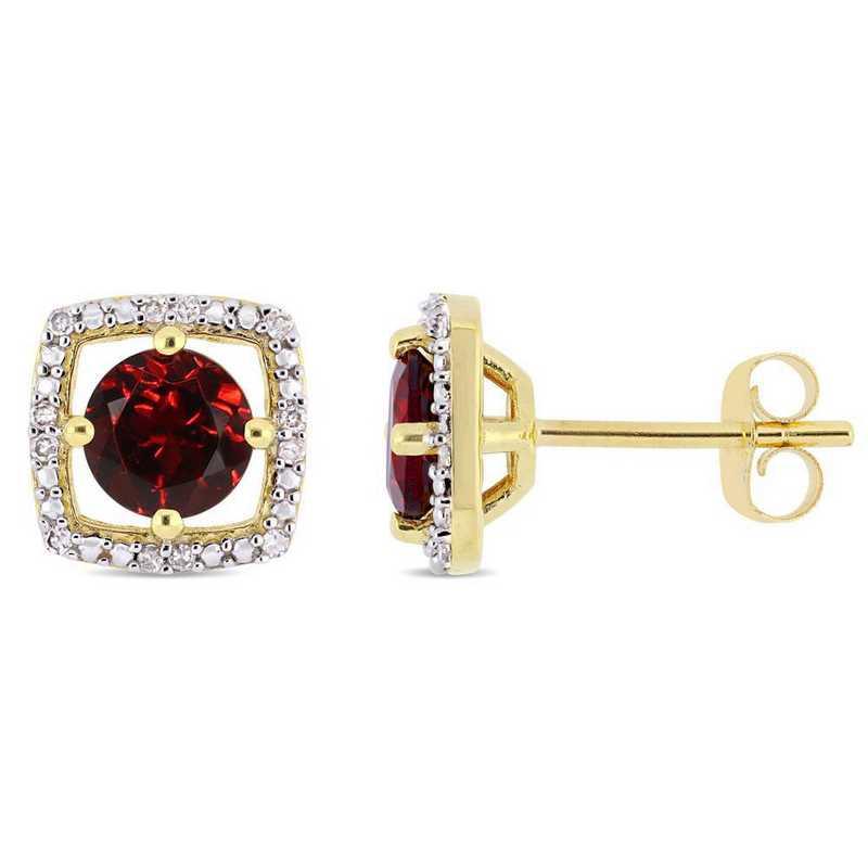 BAL000904: Garnet/Diamond Halo Square Stud Earrings in 10k Yelow Gold