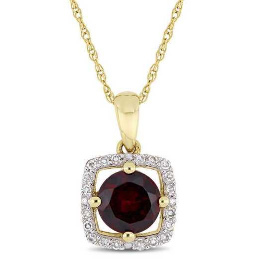 BAL000905: Garnet/Diamond Halo Square Pendant w/Chain in 10k Yelow Gold