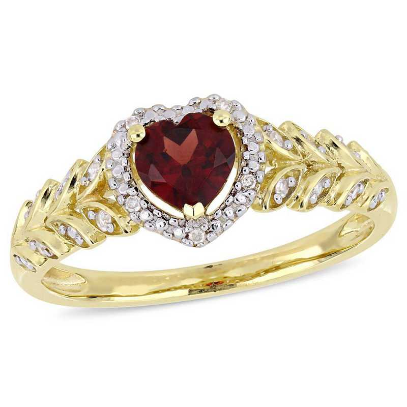 Garnet and Diamond Accent Halo Heart Ring in 10k Yellow Gold