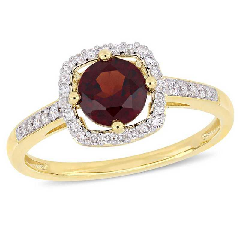 Garnet and 1/7 CT TW Diamond Square Halo Ring in 10k Yellow Gold