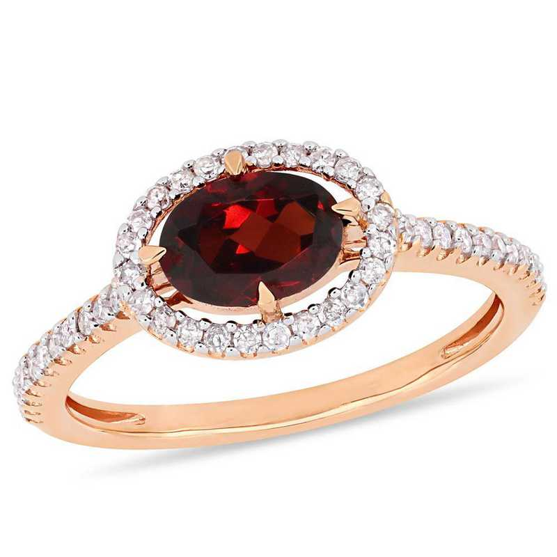 Garnet and 1/4 CT TW Diamond Halo Ring in 10k Rose Gold