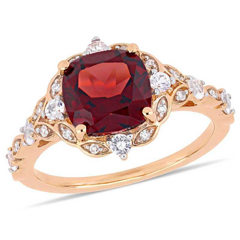 Garnet- White Sapphire and Diamond Accent Vintage Ring in 14k Rose Gold