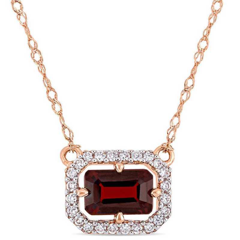 BAL000910: Garnet/1/10 CT TW Diamond Necklace in 14k Rose Gold