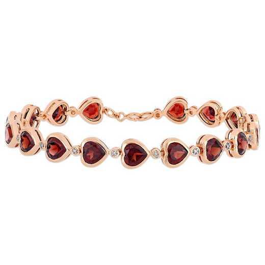 BAL000911: Garnet Heart Link Bracelet in Rose Plated SS