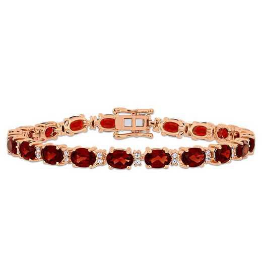 BAL000913: Garnet/Wht Sapphire Tennis Bracelet in Rose Plated SS