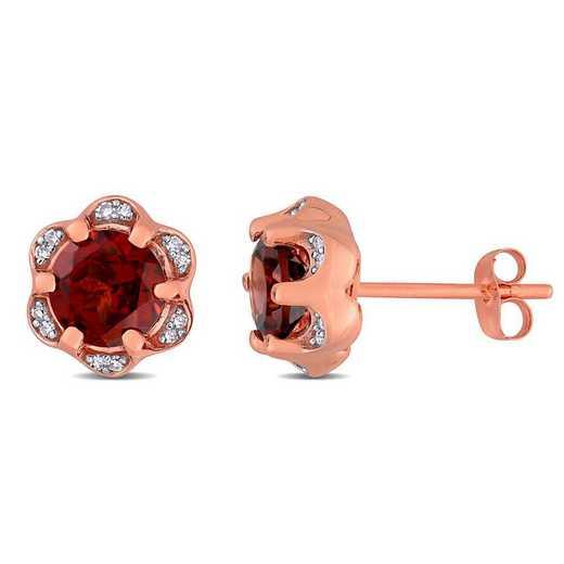 BAL000914: Garnet/Diamond Accent Flower Stud Earrings in 14k Rose Gold