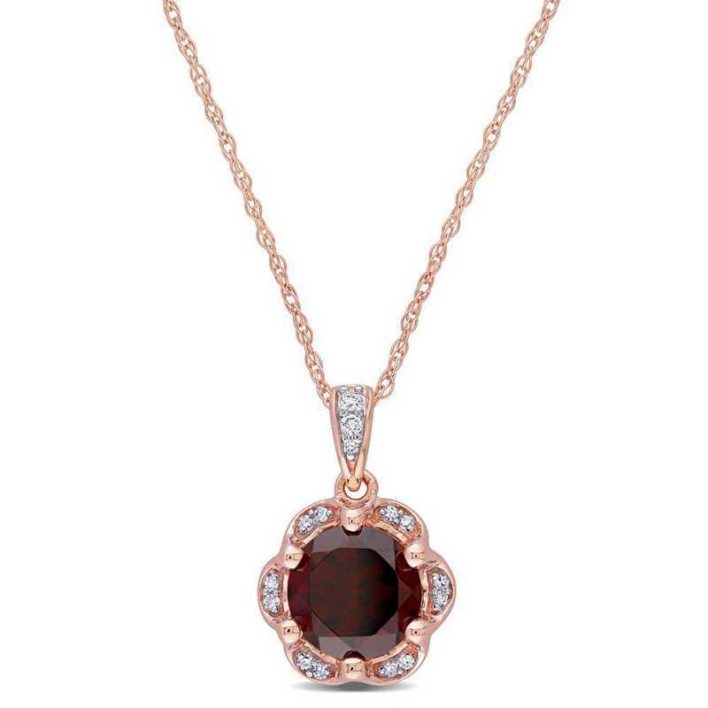 BAL000915: Garnet/Diamond Accent Flower Necklace/14k Rose Gld