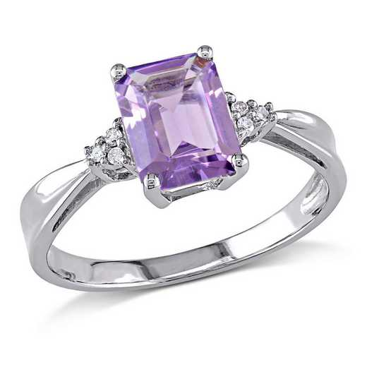 Emerald Cut Amethyst Ring with Diamond Accents in 10k White Gold