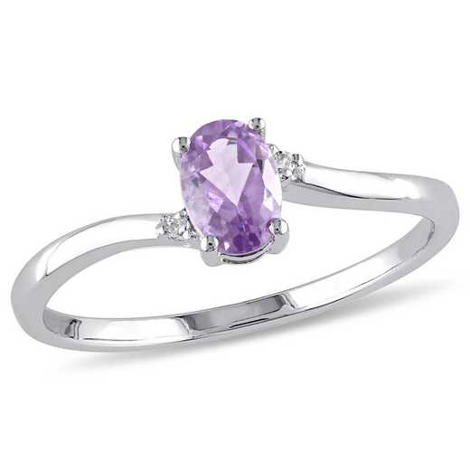 Oval Amethyst Bypass Ring with Diamond Accents in 10k White Gold