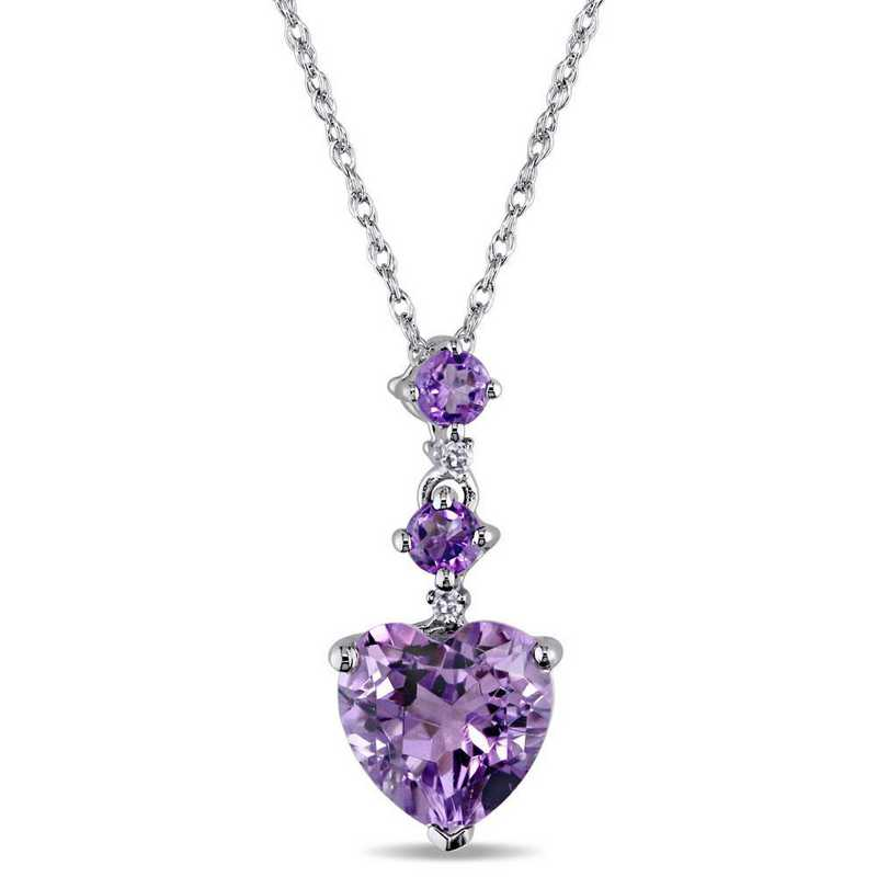 BAL000920: Amethyst/Diamond Accent Drop Pendant /Chain/10k Wht Gld