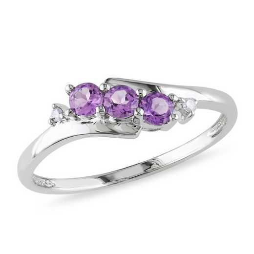 Amethyst and Diamond Accent 3-Stone Ring in 10k White Gold