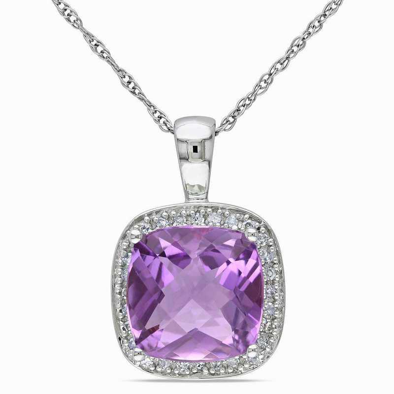 BAL000922: Amethyst/1/10CT TW Diamond Halo Pendant/Chain/10k Wht Gld