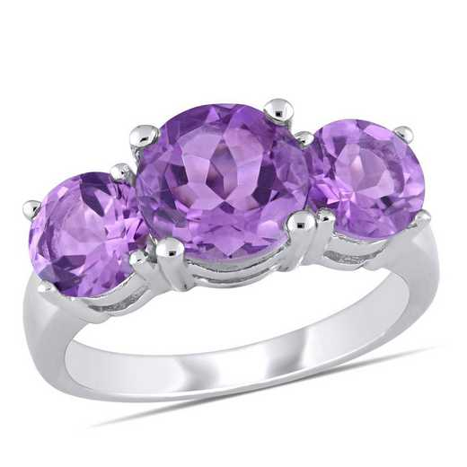 Amethyst 3-Stone Ring in Sterling Silver