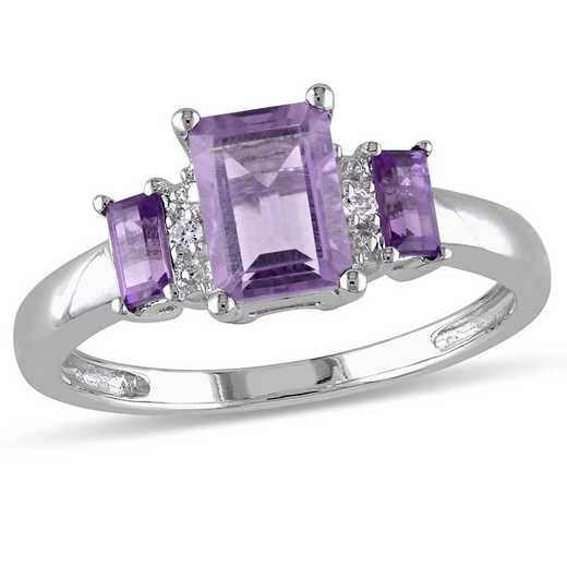 Amethyst 3-Stone Ring with Diamond Accents in 10k White Gold