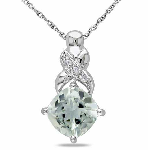 BAL000927: Green Amethyst/Diamond Accent Twist Necklace/10k Wht Gld