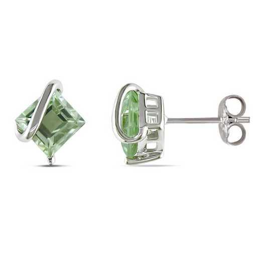 BAL000928: Green Amethyst Swirl Stud Earrings in SS