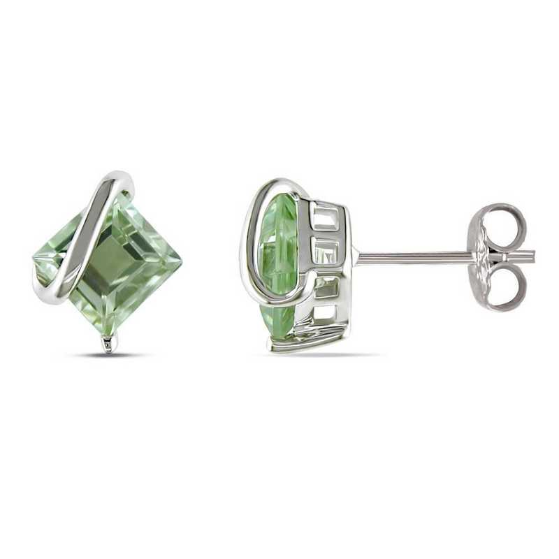 BAL000928: Green Amethyst Swirl Stud Earrings in SS