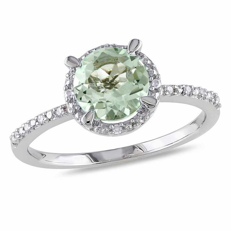 Green Amethyst and Diamond Accent Halo Ring in Sterling Silver