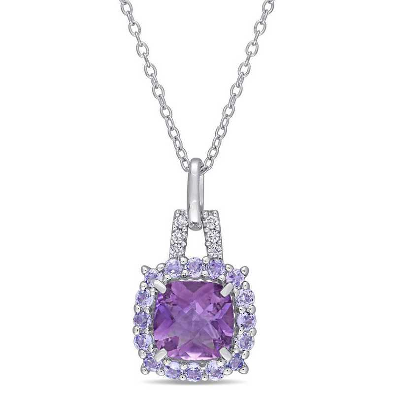 BAL000930: Amethyst/Tanzanite/Diamond Necklace in SS