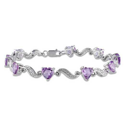 BAL000931: Amethyst/Diamond Accent Heart Bracelet SS
