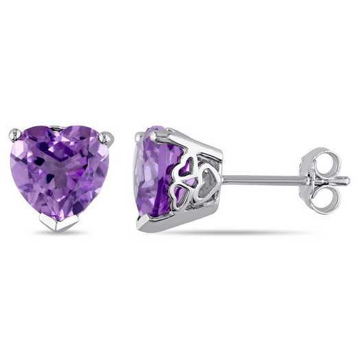 BAL000934: Amethyst Heart Stud Earrings in SS