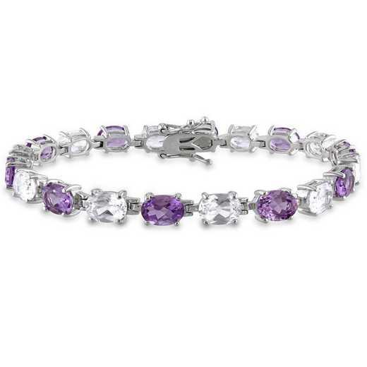 BAL000935: Amethyst/Created Wht Sapphire Oval Link Bracelet in SS