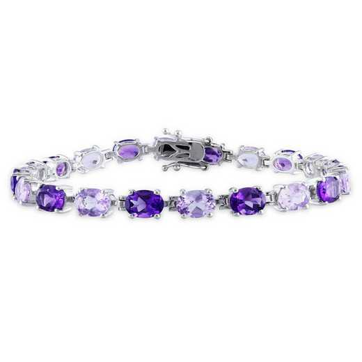 BAL000936: Oval Amethyst/Rose de France Bracelet in SS