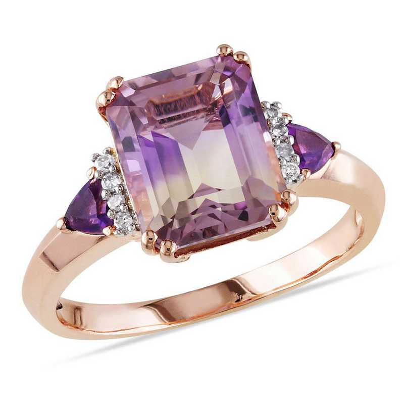 Emerald Cut Ametrine- Amethyst and Diamond Accent Ring in Rose Plated Sterling Silver