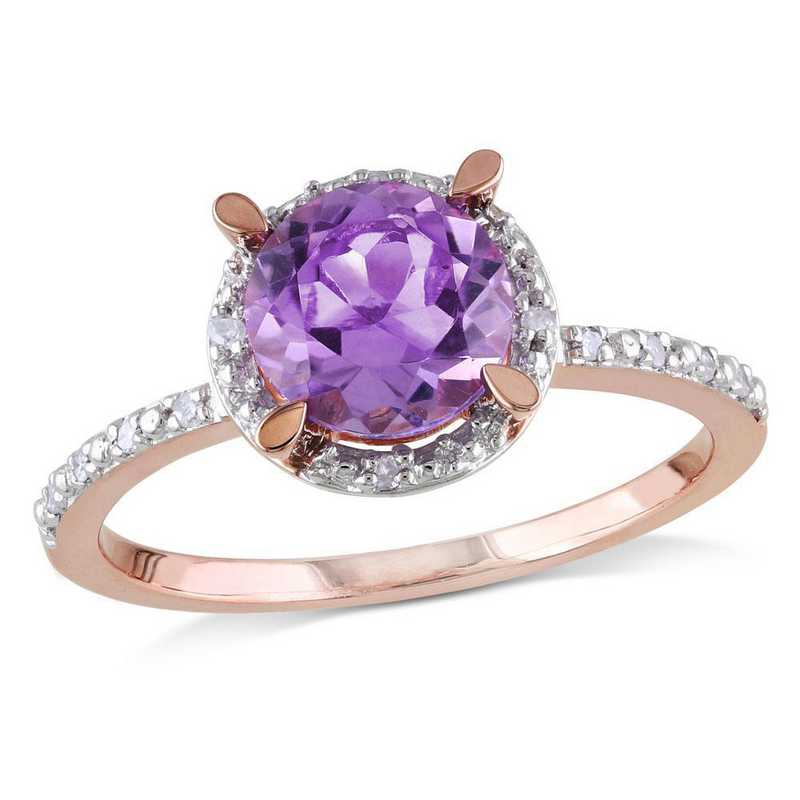 Amethyst and Diamond Accent Halo Ring in Sterling Silver
