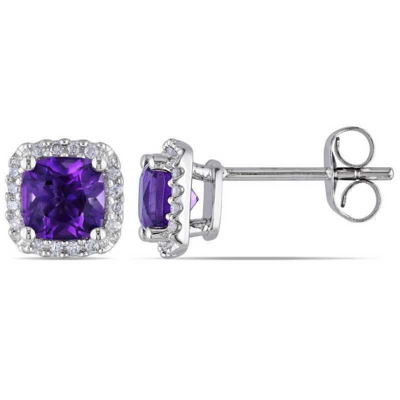 BAL000941: Amethyst/1/10 CT TW Diamond Halo Earrings in 10k Wht Gold