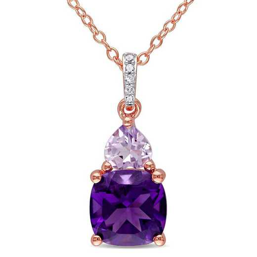 BAL000942: Amethyst/Rose de France/Diamnd Accent Drop Necklac n Rose SS