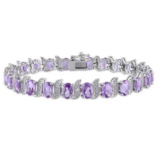 BAL000945: Amethyst/Diamond Accent Bracelet in SS