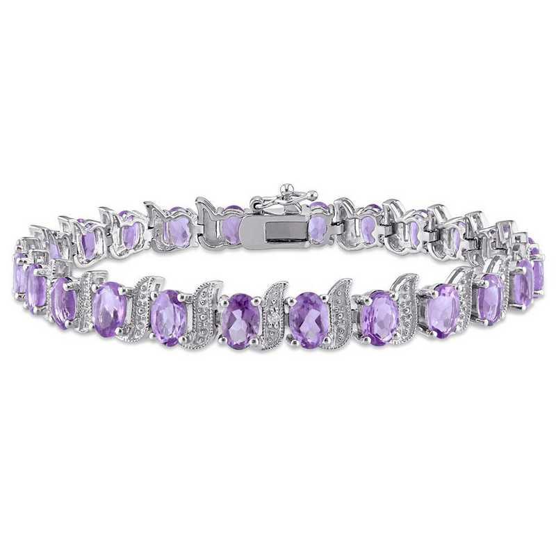 BAL000945: Amethyst/Diamond Accent Bracelet in SS