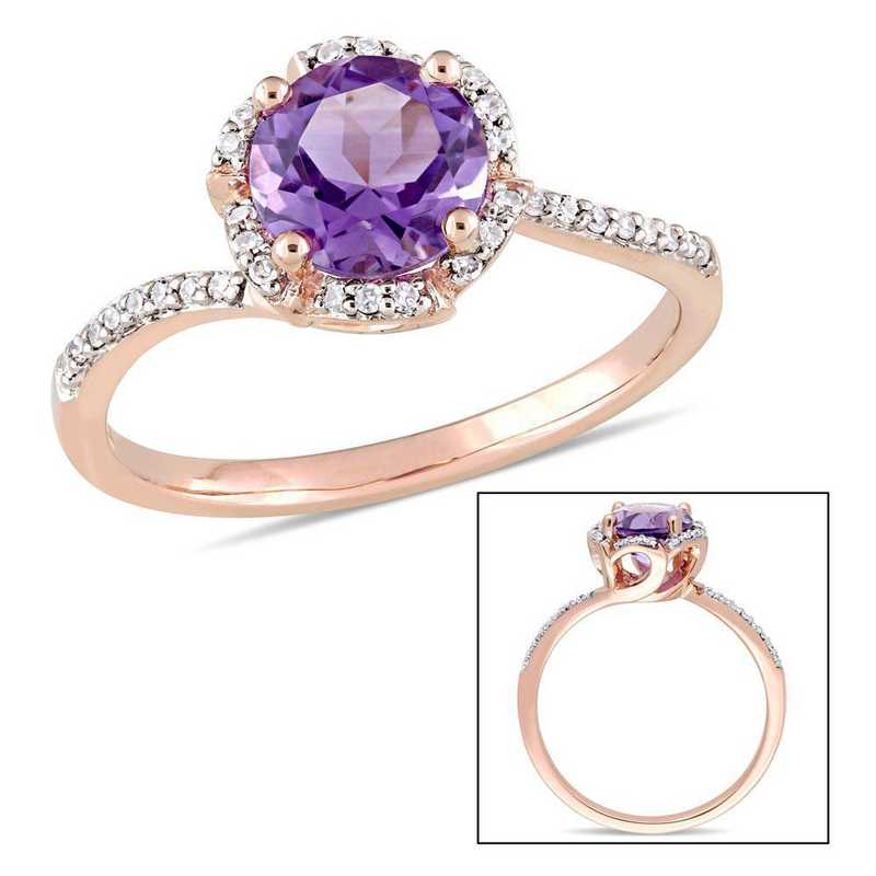 Amethyst and 1/10 CT TW Diamond Floral Halo Ring in 14k Rose Gold
