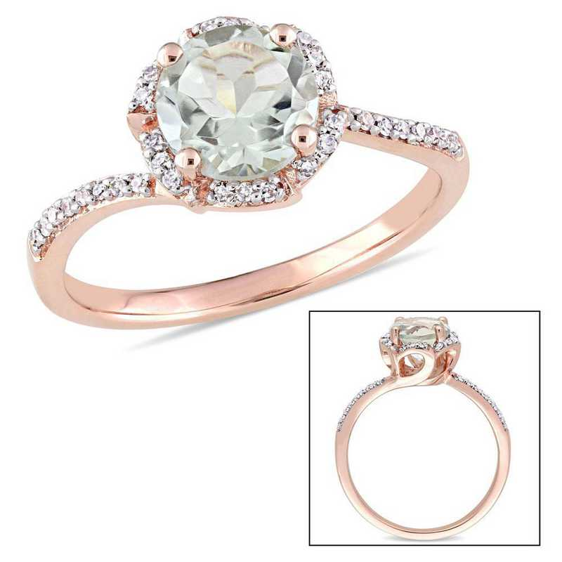 Green Amethyst and 1/10 CT TW Diamond Flower Halo Ring in 14k Rose Gold