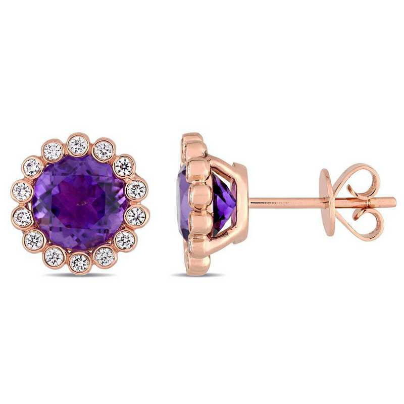 BAL000948: Amethyst/1/4CT TW Diamnd Scalloped Stud Earring/14k Rose Gld