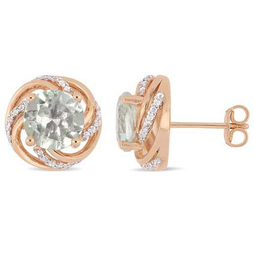 BAL000949: Green Amethyst/Wht Topaz Swirl Stud Earrings/Rose Plated SS