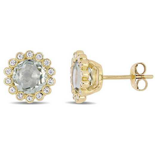 BAL000950: Green Amethyst/Wht Sapphire Halo Stud Earrings/10k Yelow Gld