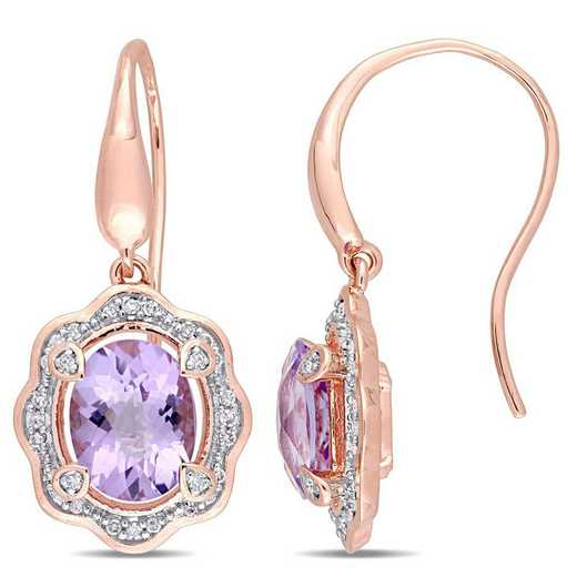 BAL000951: Amethyst/1/5 CT TW Diamond Halo Earrings in Rose Plated SS