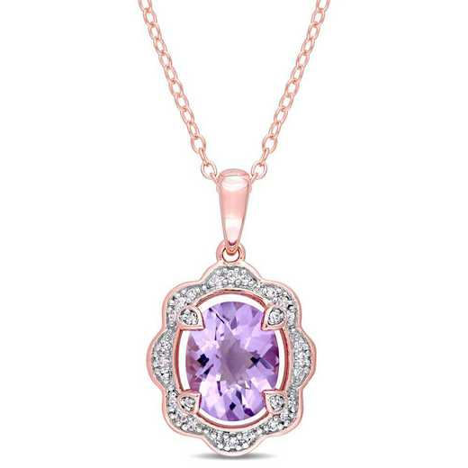BAL000954: Amethyst/1/10 CT TW Diamond Halo Necklace in Rose Plated SS