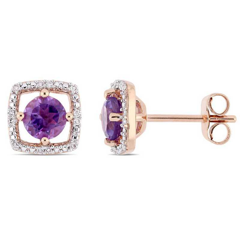 BAL000957: Amethyst/Diamond Halo Square Stud Earrings in 10k Rose Gold