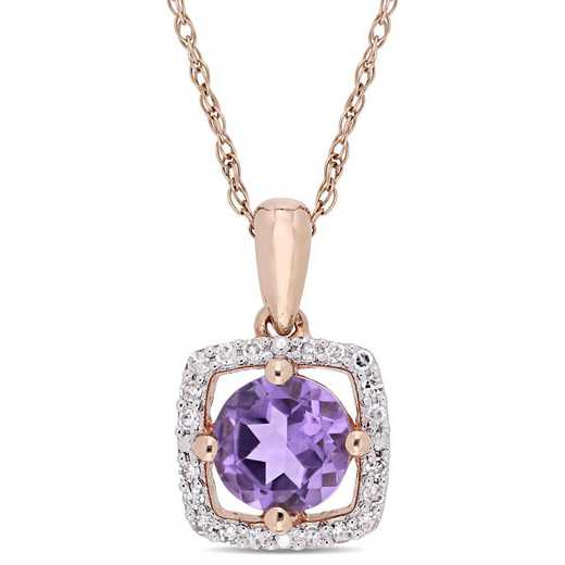 BAL000958: Amethyst/Diamond Square Halo Pendant/Chain in 10k Rose Gold