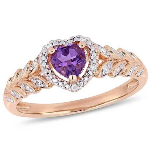 Amethyst and Diamond Accent Halo Heart Ring in 10k Rose Gold