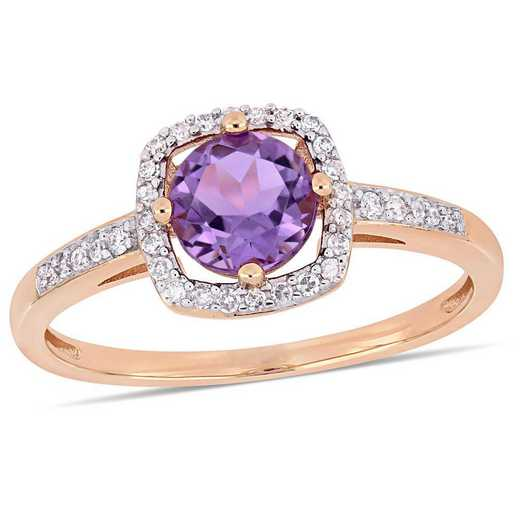Amethyst and 1/7 CT TW Diamond Square Halo Ring in 10k Rose Gold