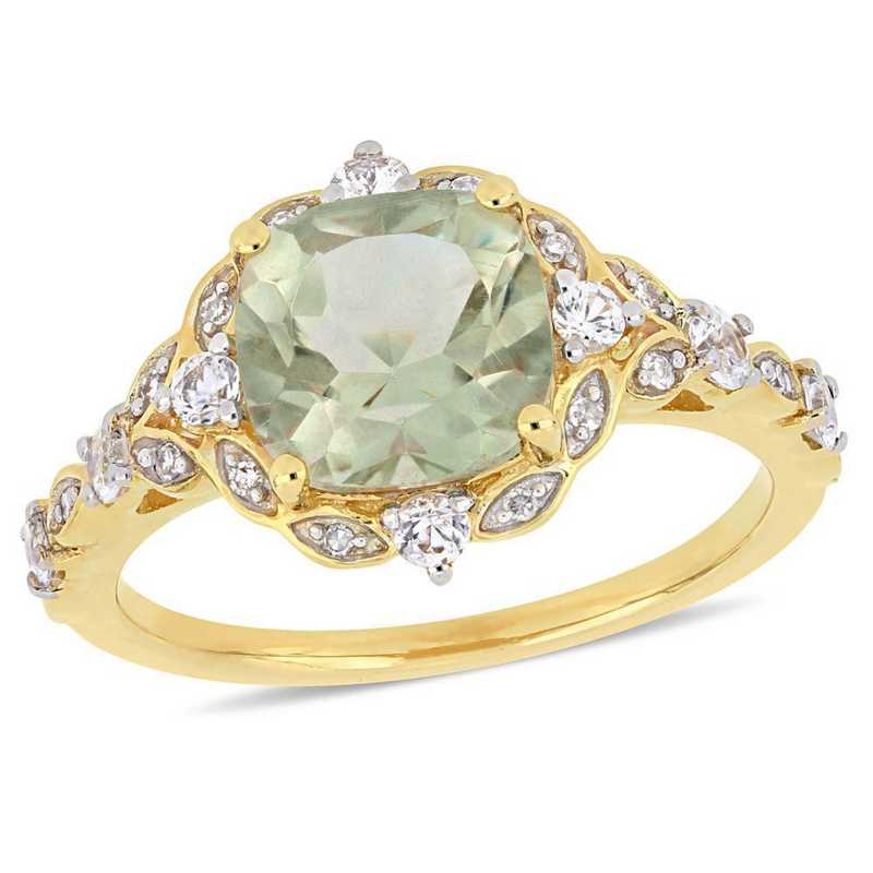 Green Amethyst- White Sapphire and Diamond Accent Vintage Ring in 14k Yellow Gold
