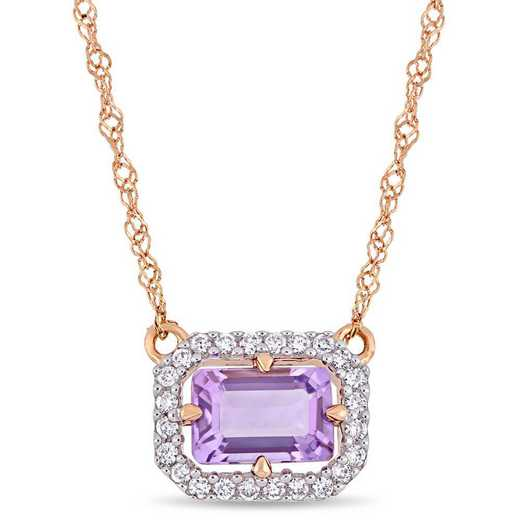 BAL000964: Amethyst/1/10 CT TW Diamond Necklace in 14k Rose Gold