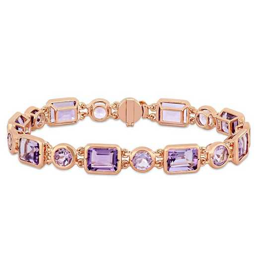 BAL000965: Amethyst/Rose de France Link Bracelet in Rose Plated SS