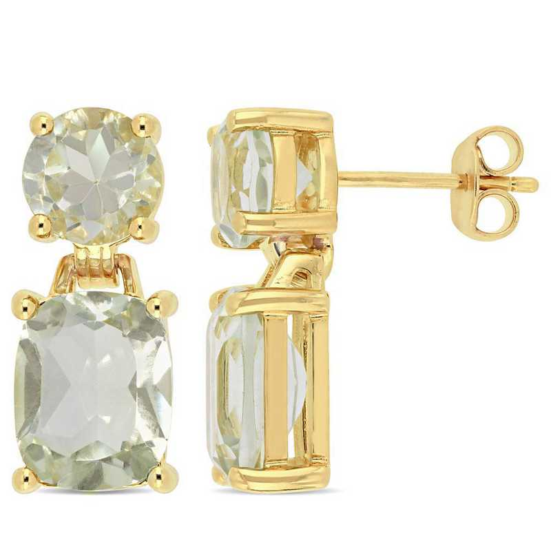 BAL000966: Green Amethyst Dangle Earrings in Yelow Plated SS