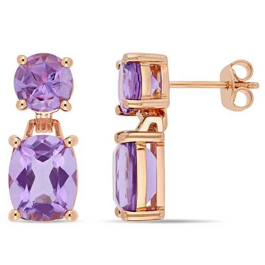 BAL000967: Amethyst Dangle Earrings in Rose Plated SS